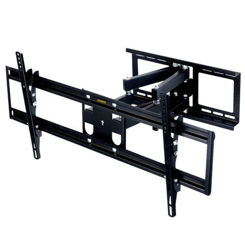 MegaMounts Full Motion Articulated Tilt and Swivel Television Wall Mount for 37-60 Inch Screens with Bubble Level - Black
