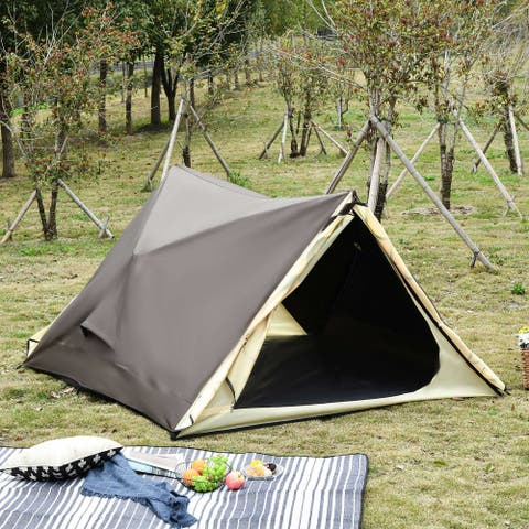 Outsunny 2-3 People Pop Up Tent Automatic Instant Tent Portable Cabana Beach Tent w/ Carry Bag, Windows and Doors, Outdoor