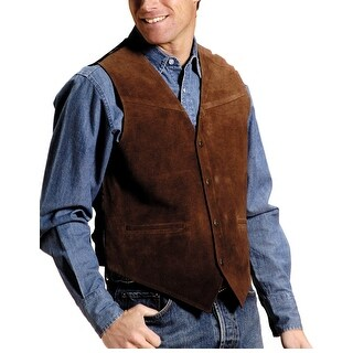 Roper Western Vest Mens Leather Snap Brown