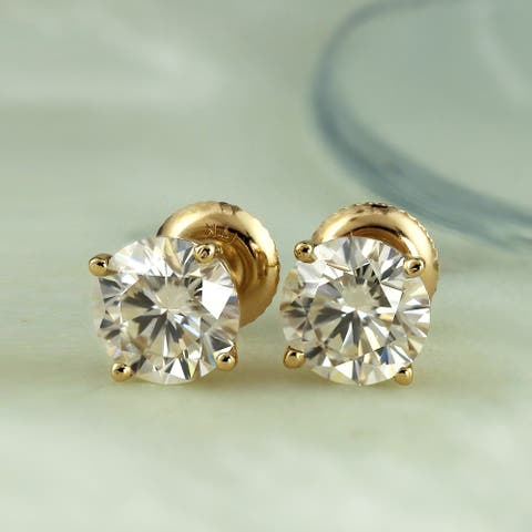 Auriya 1 carat TW Round Moissanite Stud Earrings 14k Gold 4-Prong Basket - 5 mm, Screw-Backs