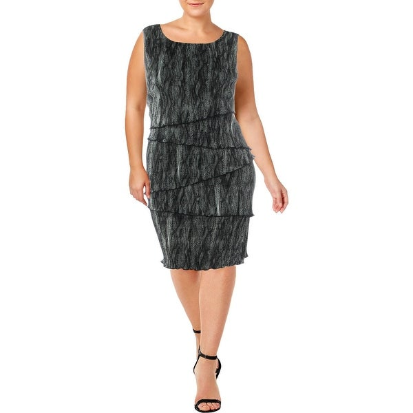Connected Apparel Womens Plus Wear to Work Dress Tiered Knee-Length