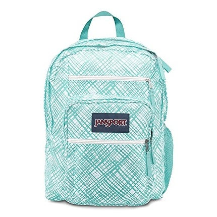 JanSport Big Student Classics Series Backpack - Aqua Dash Jagged Plaids - aqua dash jagged plaid - One Size