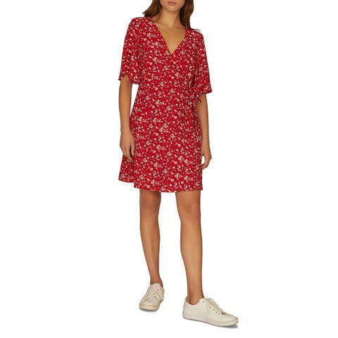 Sanctuary Womens Wrap Dress Floral Print Faux Wrap - Simply Red