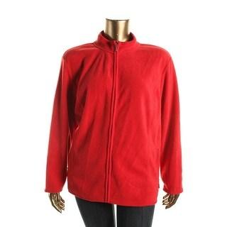 Karen Scott Womens Plus Lightweight Zeroproof Fleece Jacket
