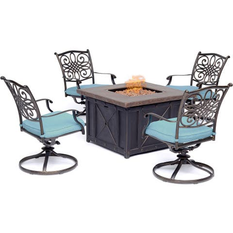 Hanover Traditions 5-Piece Fire Pit Chat Set in Blue with 4 Swivel Rockers and a 40-In. Square Durastone Fire Pit Table