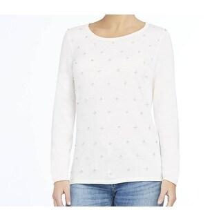 Elie Tahari NEW White Ivory Embellished Medium M Sweater Knit Top Wool