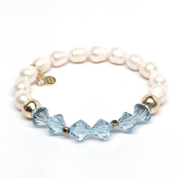 """Freshwater Pearl & Light Blue Crystal Chloe 7"""" Bracelet"""