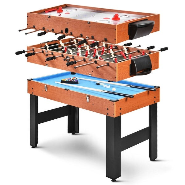 Costway 48'' 3-In-1 Multi Combo Game Table Foosball Soccer Billiards