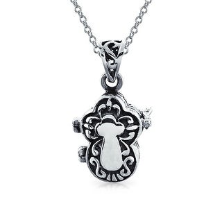 .925 Silver Antiqued Cross Poison Prayer Box Locket Pendant Necklace 18 In
