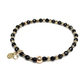 Black Onyx 'Friendship' Stretch Bracelet, 14k over Sterling Silver