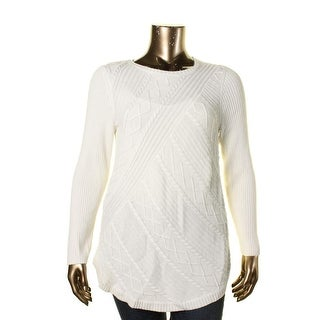 Cupio Womens Cable Knit Crew Neck Pullover Sweater