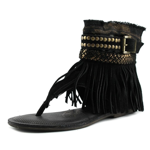 Naughty Monkey Amiga Women Open Toe Suede Black Gladiator Sandal