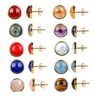 Gold Over Sterling Silver Natural Choice Of Gemstone Stud Earrings