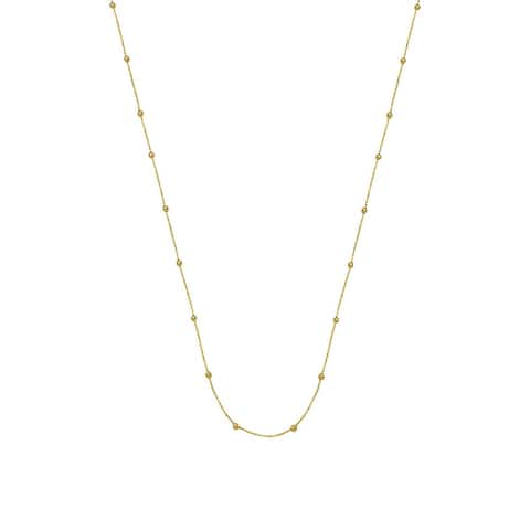 Curata 14k Yellow Gold Station Round Moon Bead Necklace (Spring Ring) Options: 17 20 24 36