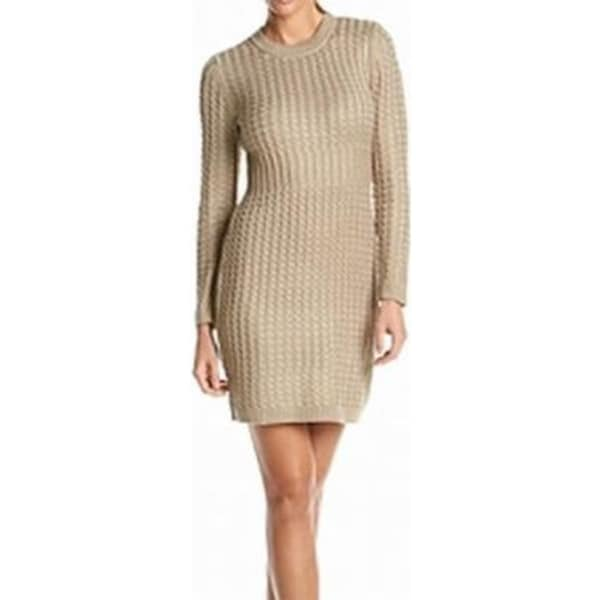 3ea569123a3 Shop Calvin Klein Women s Medium Cable Knit Sweater Dress Beige Medium -  Free Shipping Today - Overstock - 19312866