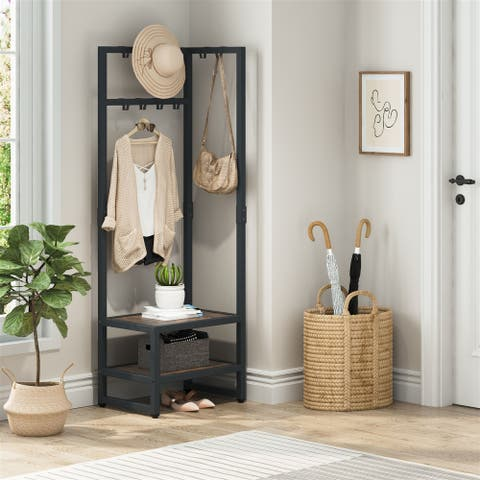 Coat Rack, Reversible Hall Tree with Shoe Bench,Storage Shelf Stand with 10 Hooks, 3-in-1 Design Shoe and Coat Rack