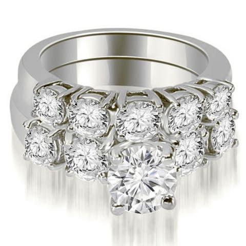 2.15 CT Basket Prong Set Round Cut Diamond Bridal Set in 14KT Gold - White H-I