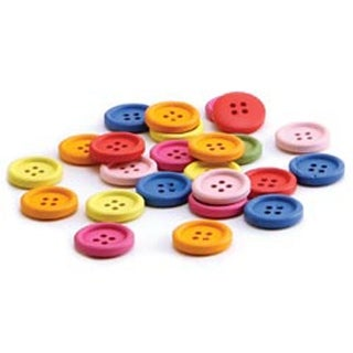 20Mm 40/Pkg - Bright Wooden Assorted Color Buttons