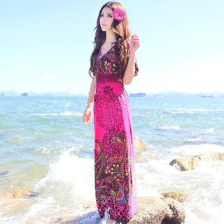 Floral Chiffon Ankle-Length Maxi Dress In 3 Colors