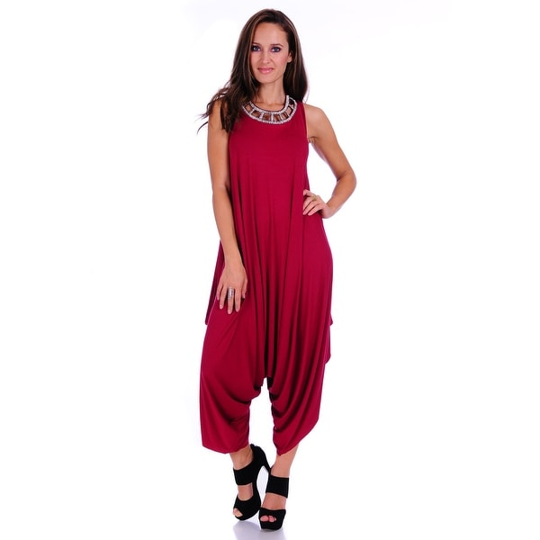 Simply Ravishing Women's Solid Spaghetti Strap Loose Fit Harem Jumsuits