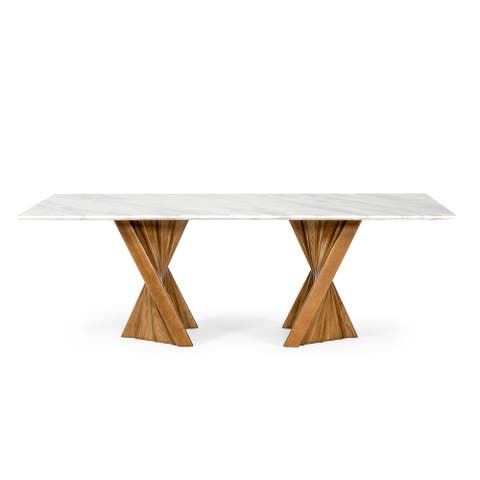 Modrest Cadence Modern Walnut & Marble Dining Table