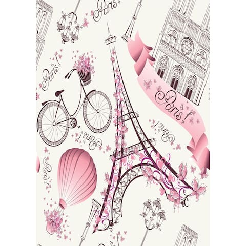 Romantic Travel in Paris Removable Wallpaper - 24'' inch x 10'ft
