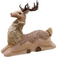 "9.5"" Rose Gold Jeweled and Glittered Sitting Christmas Deer  Decoration - brown"