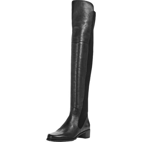 Stuart Weitzman Womens Lynelle Over-The-Knee Boots Leather Riding - Black