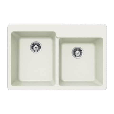 "Houzer M-175 Quartztone 33"" Double Basin Drop in Kitchen Sink with"