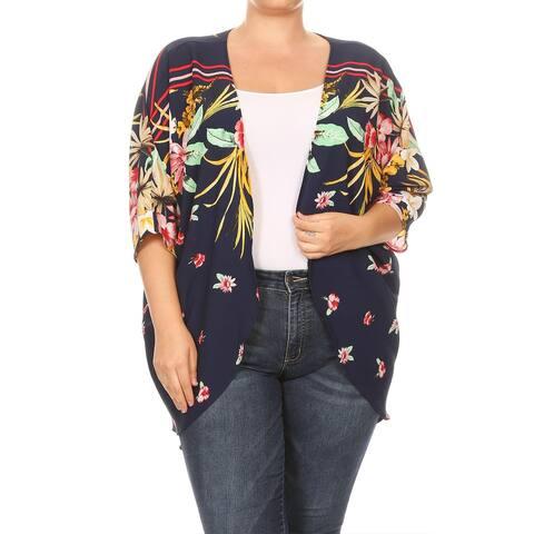 Women's Floral Pattern Print Open Sweater Cardigan