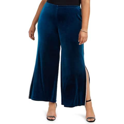 MSK Womens Pants Blue Size 1X Plus Velvet Embellished Split Hem Wide Leg