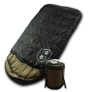 Wolftraders LoneWolf +0 Degree Fahrenheit Oversized Premium Comfort Ripstop Sleeping Bag, Black/Tan