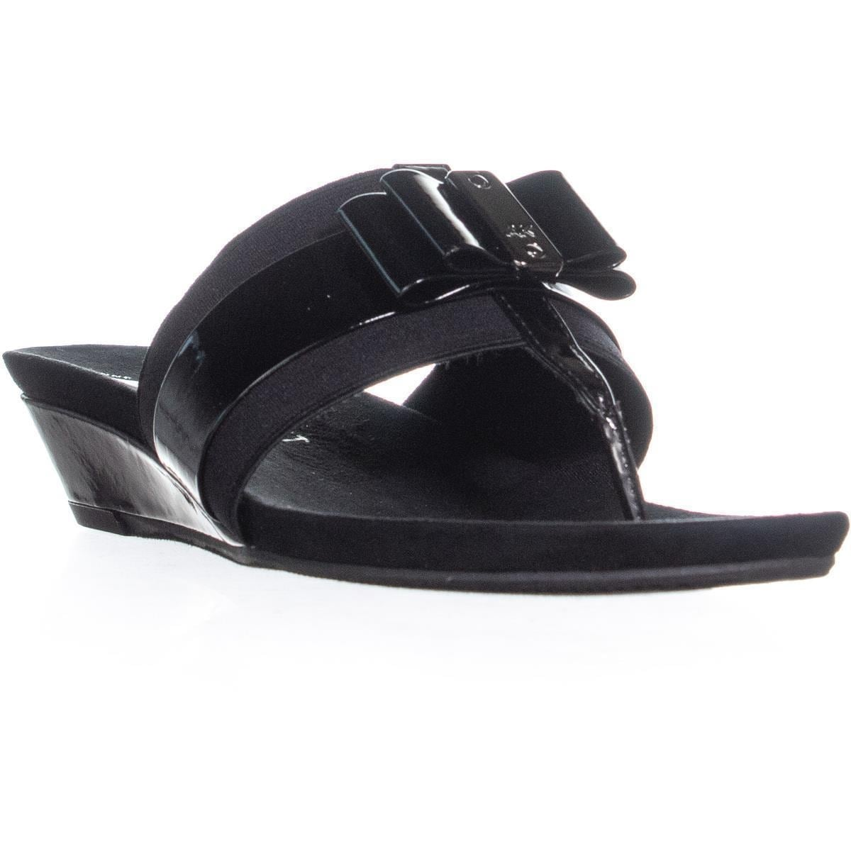 d873b2df121ca Shop Anne Klein Imperial Wedge Slide Slip On Sandals, Black/Black ...