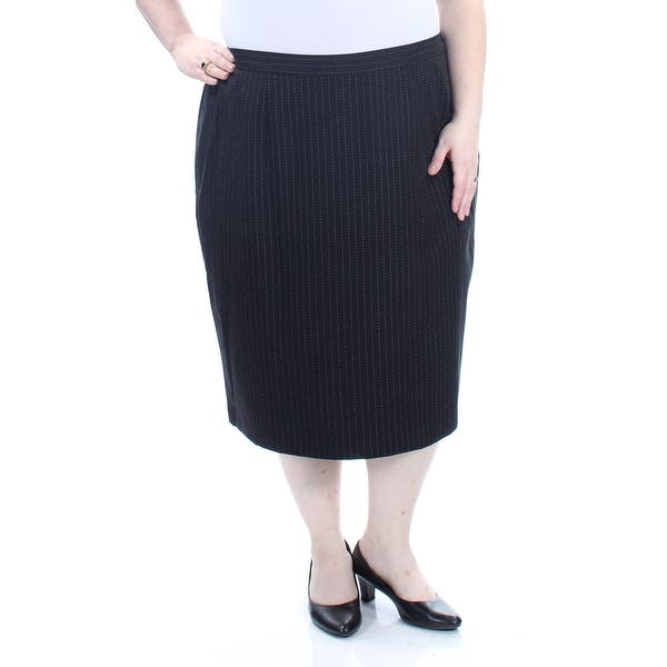 765987969 Shop LE SUIT Womens Black Striped Below The Knee Pencil Wear To Work Skirt  Plus Size: 20W - Free Shipping On Orders Over $45 - Overstock - 21271556