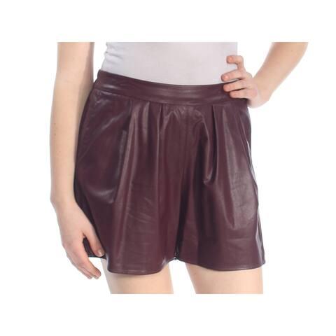 CECE Womens Burgundy Faux Leather Short Size: 4