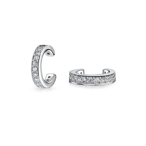 CZ Band Cartilage Ear Cuff Earrings Rose Gold Plated Silver