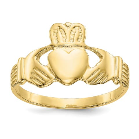 10K Yellow Gold High Polished Men's Claddagh Themed Ring by Versil