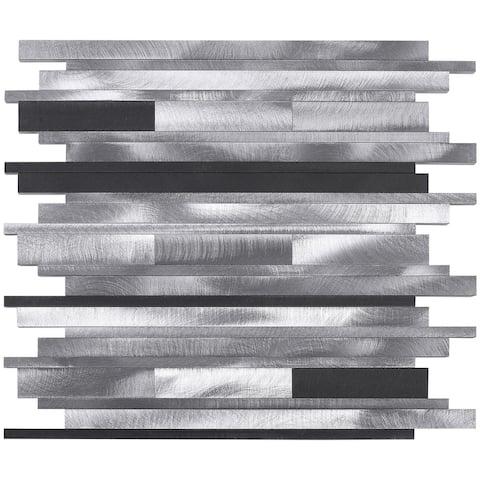 TileGen. Random Sized Aluminum Metal Tile in Silver/Gray Wall Tile (10 sheets/9.6sqft.)