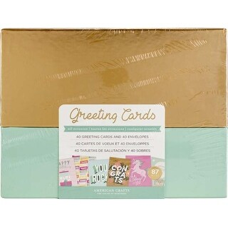 All Occasions W/Gold Foil - American Crafts Greeting Cards W/Envelopes 40/Box
