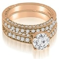 1.38 cttw. 14K Rose Gold Antique Milgrain Round Cut Diamond Bridal Set - Thumbnail 0