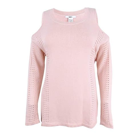 Bar III Women's Perforated Cold Shoulder Pullover Sweater, Pink (S) - Ballet Pink - small