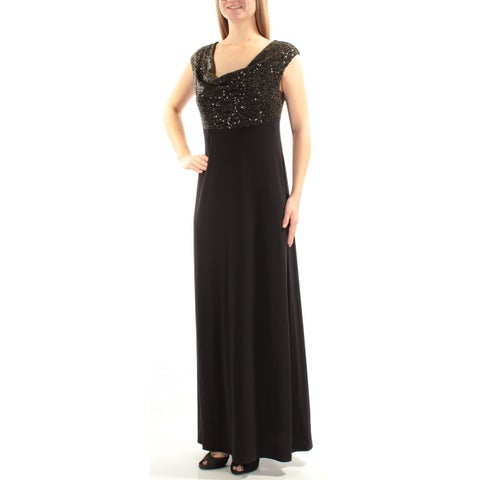 CONNECTED Womens Black Sequined Metallic Sleeveless Cowl Neck Maxi A-Line Formal Dress Size: 8