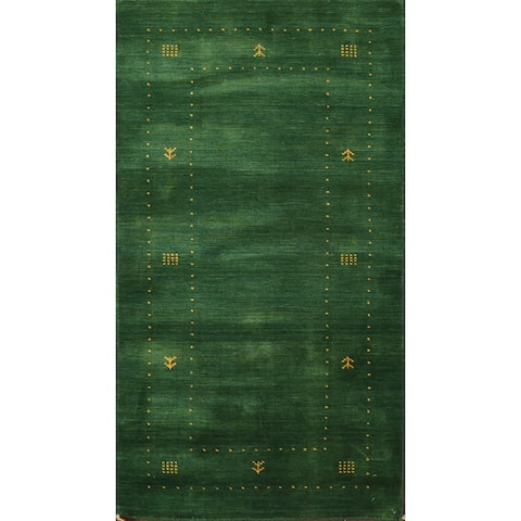 """Tribal Green Gabbeh Oriental Staircase Runner Rug Wool Hand-knotted - 2'4"""" x 4'7"""""""