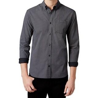 Wht Space NEW Men's Black Size Medium M Pindot Print Button Down Shirt