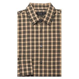 Prada Men's Plaid Cotton Dress Shirt Beige - 15.5