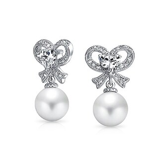 Bling Jewelry Crystal Bow Imitation Pearl Earrings 10mm Rhodium Plated
