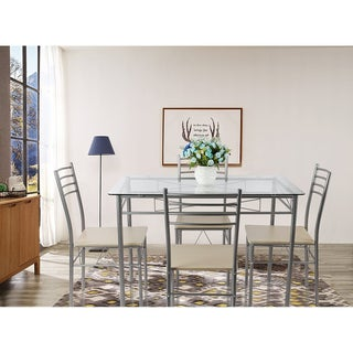 VECELO Glass Dining Table Set,with 4 Chairs Kitchen Table set(Black/Silver) (2 options available)