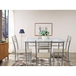 silver dining table. VECELO Glass Dining Table Set with 4 Chairs Kitchen set Black Silver Room  Bar Furniture For Less Overstock com