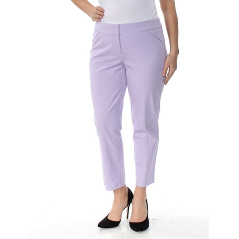 ALFANI Womens Purple Cropped Straight leg Pants Size: 12