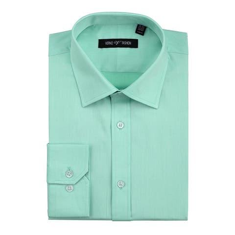 Men's No Iron Slim Fit Performance Solid Spread Collar Dress Shirt